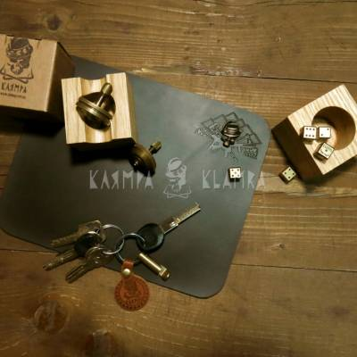 Brass and leather trinkets
