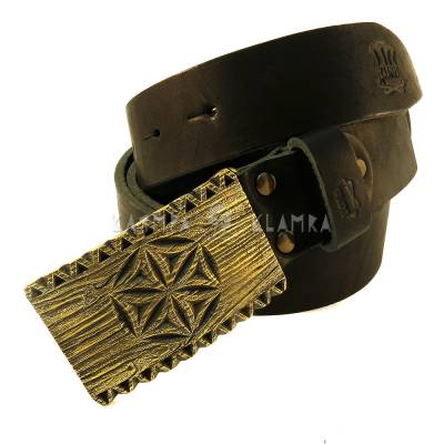 "Leather belt with handmade brass buckle ""Engraved"""