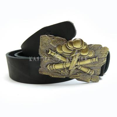 "Leather belt with handmade brass buckle ""Gods of War"""