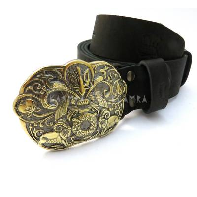"Leather belt with handmade brass buckle ""Tree of life"""