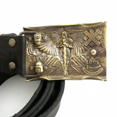 "Leather belt with handmade brass buckle ""Heaven's punishment"""