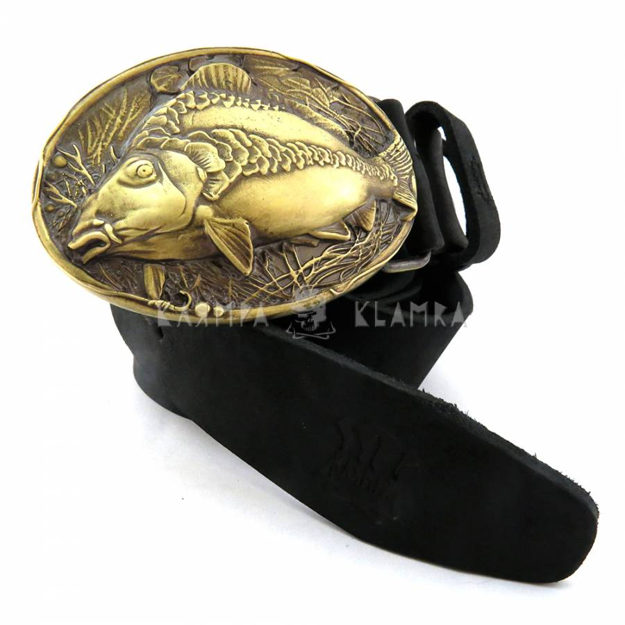 "Leather belt with handmade brass buckle ""Mirror carp"""