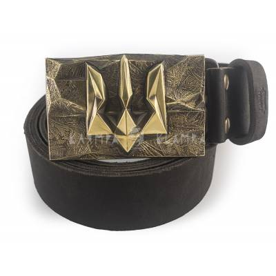 "Leather belt with handmade brass buckle ""Ice and Fire"""