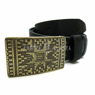 "Leather belt with handmade brass buckle ""Plakhta"""