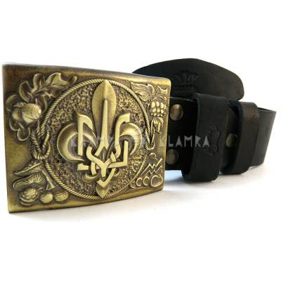 "Leather belt with handmade brass buckle ""PLAST"""