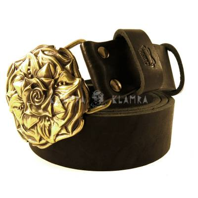 "Leather belt with handmade brass buckle ""Rose"""