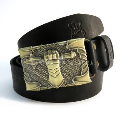 "Leather belt with handmade brass buckle ""Steel fist"""