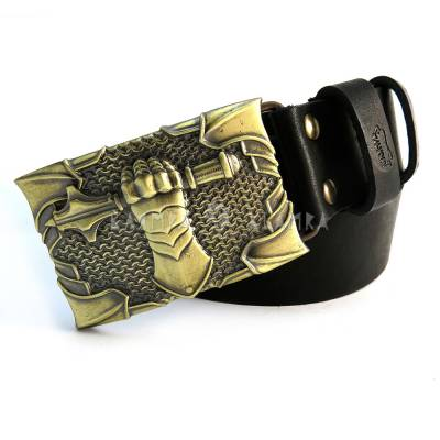 "Leather belt with handmade brass buckle ""Steel fist"""