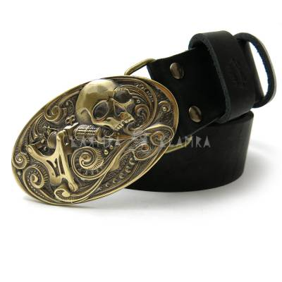 "Leather belt with handmade brass buckle ""Yes, it hurts!"""