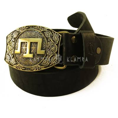 "Leather belt with handmade brass buckle ""Tamga"""