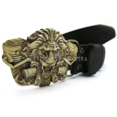"Leather belt with handmade brass buckle ""Burning Lion"""